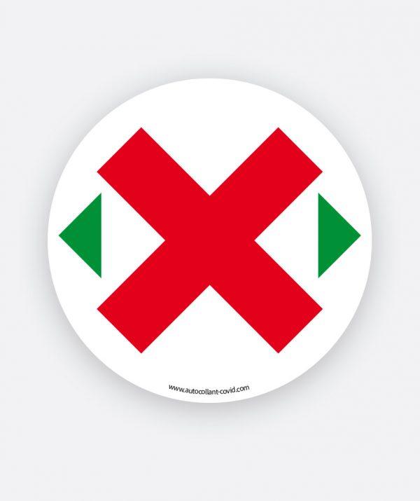 Etiquette autocollante pour distanciation Covid sur siège, sticker rond avec croix rouge, diamiètre 90 mm